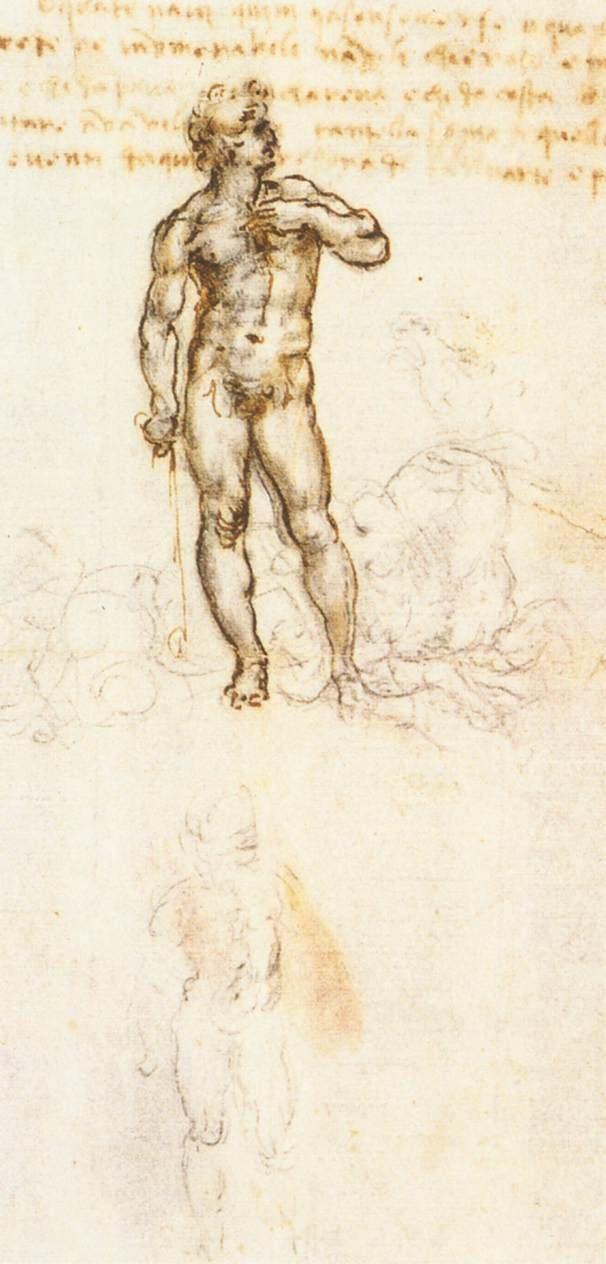 米開朗基羅的大衛像手稿(取自Wikipedia/PD-US)