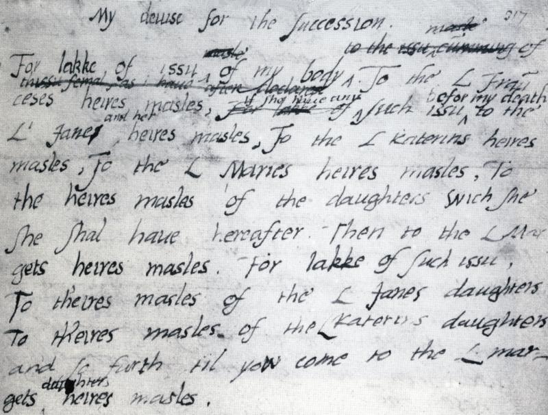 愛德華六世提名珍為王位繼承任的詔書草稿(取自Wikipedia/Public Domain)