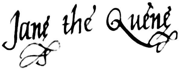 珍.葛雷(Lady Jane Grey)的簽名(取自Wikipedia/Public Domain)