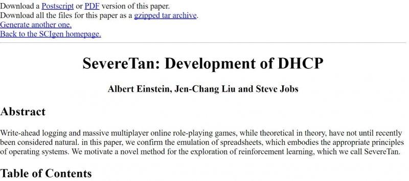 作者利用SCIGen產生一篇三人合著作品,作者是愛因斯坦(Albert Einstein)、作者(Jen-Chang Liu)、賈伯斯(Steve Jobs)。(作者提供)