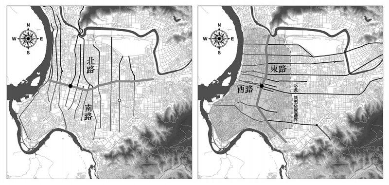 圖中黑色圓點為當時台灣省行政長官公署之位置,亦為XX東西路與XX南北路分界之中心點。(圖/前衛出版提供)