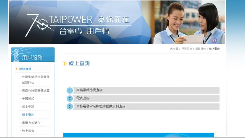 台電網站當期電價查詢系統 (作者提供)