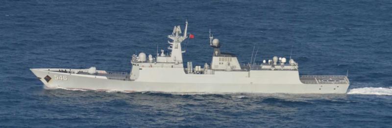 中國海軍鹽城艦。(日本統合幕僚監部)