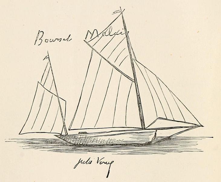 凡爾納手繪的帆船插圖。(維基百科公有領域)