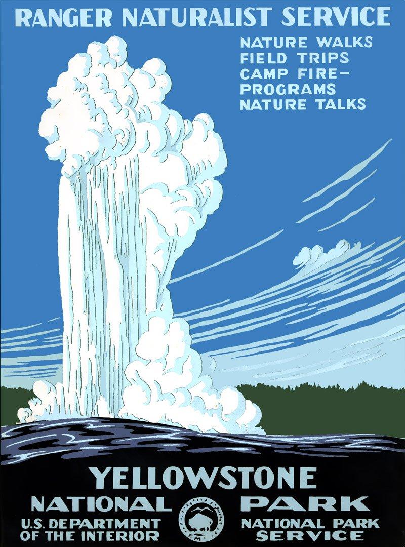 1938年黃石國家公園的宣傳海報。(wikipedia/public domain)