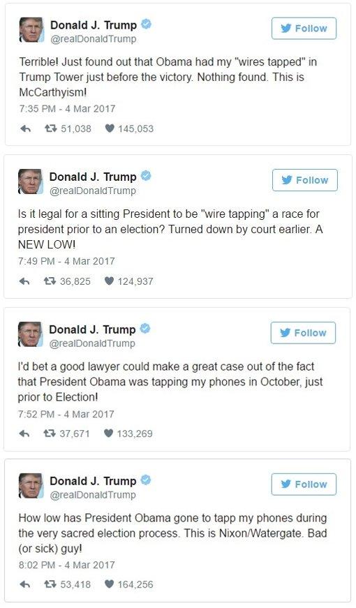 2017年3月4日,川普連發4則推文指控歐巴馬竊聽(網路截圖)