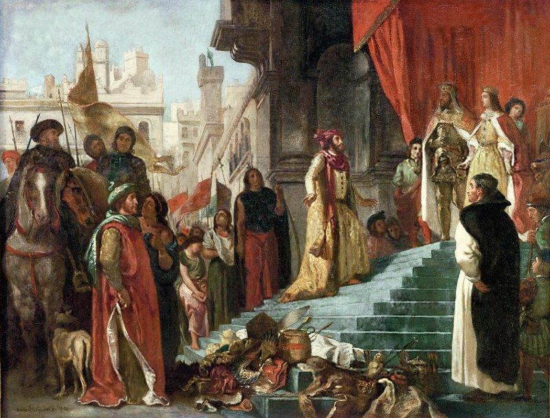 哥倫布向西班牙國王夫婦報告美洲見聞。(維基百科公有領域)