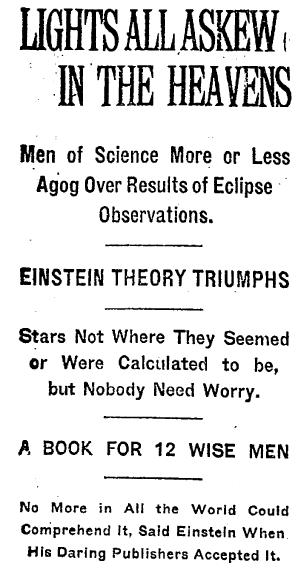 1919年11月10日《紐約時報》刊登對於光線被彎曲的新觀察,並且表示這是愛因斯坦理論的大勝利。(wikipedia/public domain)