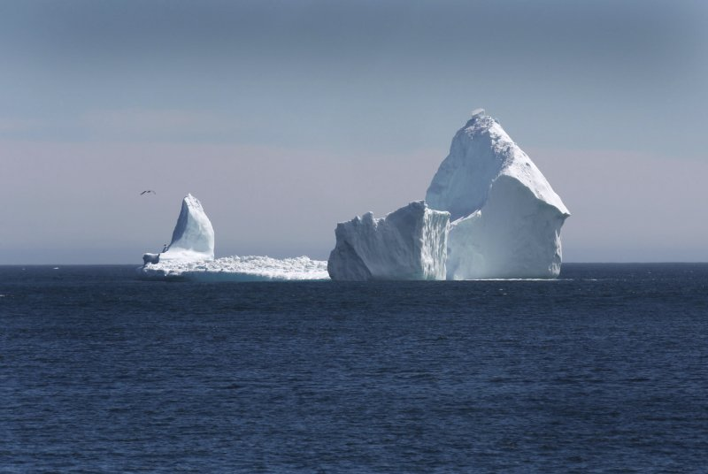 加拿大紐芬蘭外海出現一座「擱淺」的冰山。(美聯社)
