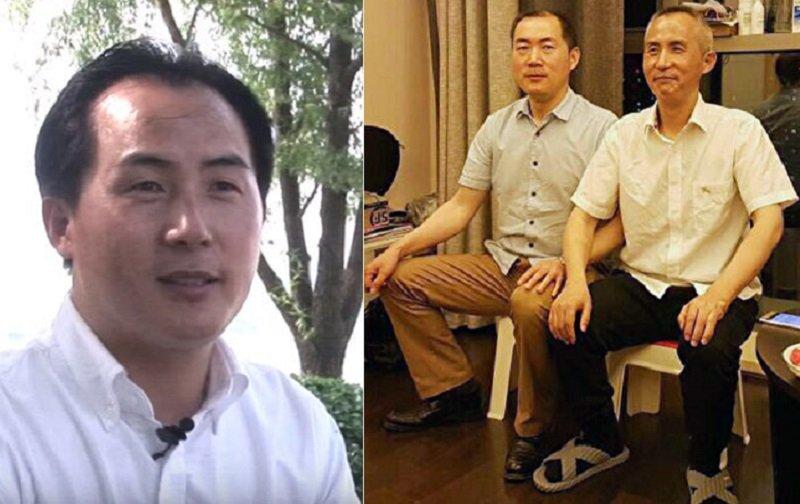 獲釋的中國維權律師李和平(被拘前,左)滿頭白髮如同老人。(右圖右)