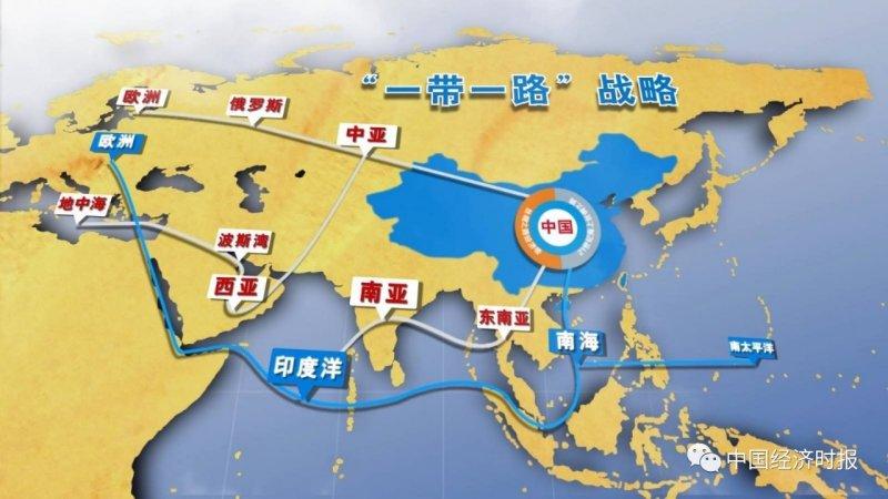 一帶一路,「絲綢之路經濟帶」與「21世紀海上絲綢之路」(取自網路)