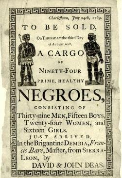 販賣黑奴的海報,上頭粗體字寫道:「待售、一貨輪、94個上等、健康的黑人」(wikipedia/public domain)