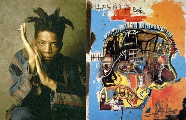 美國藝術家巴斯奇亞(Jean-Michel Basquiat)與他1981年的作品《骷髏》(Scull)(Wikipedia / Fair Use)