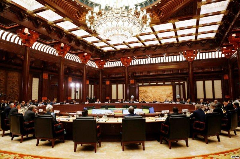 「一帶一路」國際合作領導人圓桌峰會在北京雁棲湖國際會議中心舉行(美國之音)