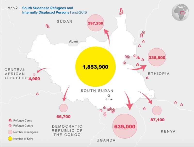 《全球趨勢報告》(Global Trends report)中對於蘇丹難民去向的分析。