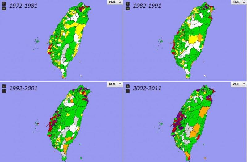 老深澳電廠運轉期間,鄰近地區的男性因呼吸道疾病而死亡的比例比其他地區老深澳電廠運轉期間,鄰近地區的要來得高。紅色是最高10%之鄉鎮,紫色是統計顯著高之鄉鎮,綠色是平均值,黃色是統計顯著低之鄉鎮,白色是最低10%之鄉鎮。(取自taiwancancermap)
