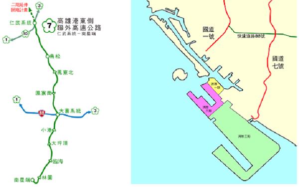 國道七號路線(左,Lzmxya/維基百科),國道七號與洲際港關係圖(右,Liaon98/維基百科)