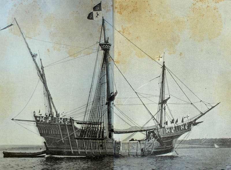 歷史文件描繪的哥倫布船艦。(圖/Fondo Antiguo de la Biblioteca de la Universidad de Sevilla@flickr)