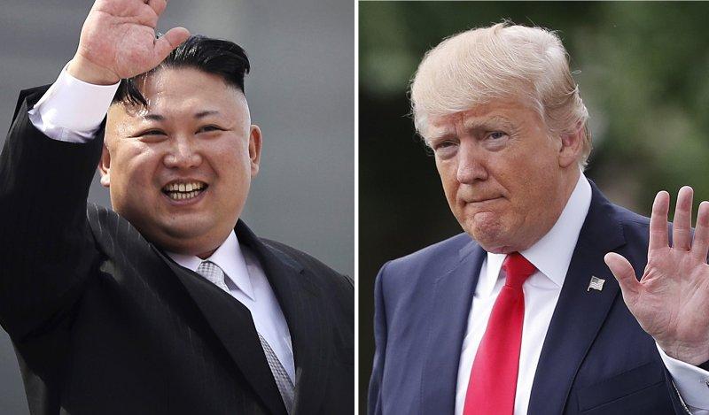 北韓最高領導人金正恩(左)與美國總統川普近日互相揚言要動武(AP)