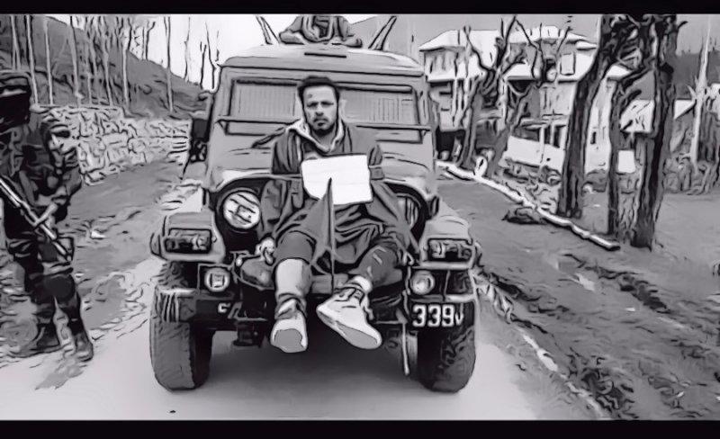 喀什米爾印軍把俘虜綁在車上當作人肉盾牌斯里納加隨想 (林修正提供)