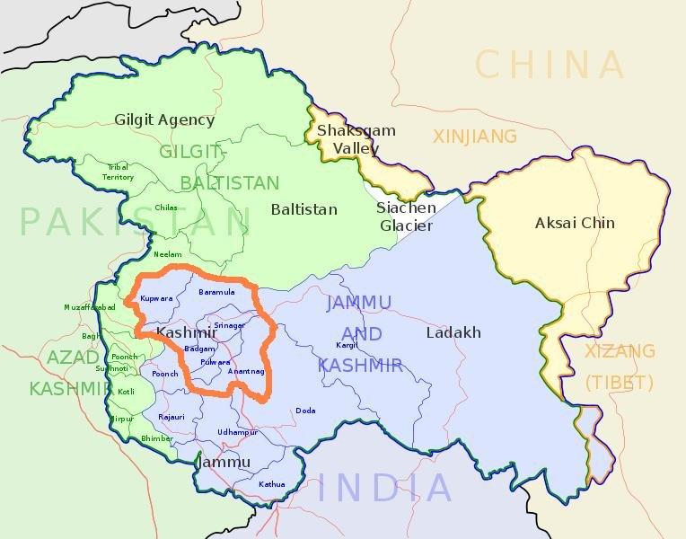 喀什米爾全圖,綠色為巴控區,藍色為印控區,黃色中國實際控制區,橘色線內為喀什米爾山谷斯里納加隨想 (林修正提供)