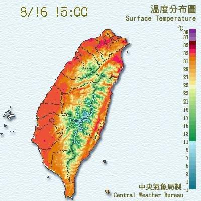 太平洋高壓籠罩加上西南風引入熱空氣,全台連日高溫。(中央氣象局提供)