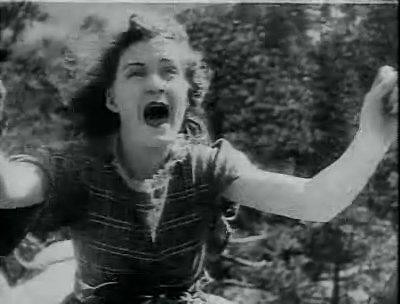 《一個國家的誕生》(1915)片中,一名白人女子被黑人男子騷擾而墜崖。(維基百科公有領域)