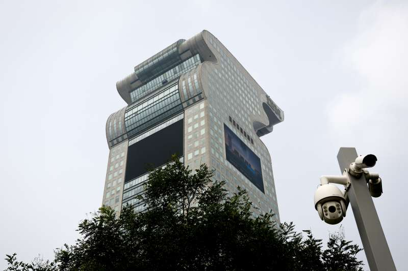 流亡紐約的中國富商郭文貴,位於北京的產業「盤古大觀」(AP)