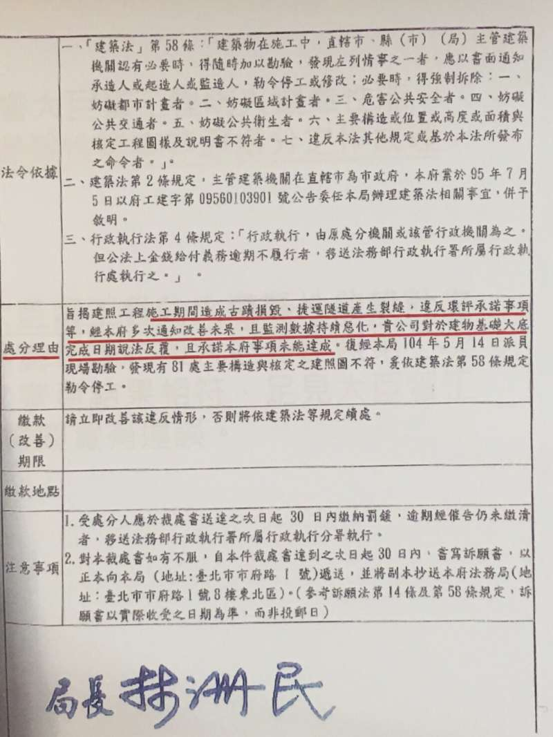 大巨蛋停工訴訟。根據市府520停工時發給遠雄的公文,當中列出的理由,遠雄認為,依法行政、明確性原則、不當連結禁止原則。(王彥喬翻攝)