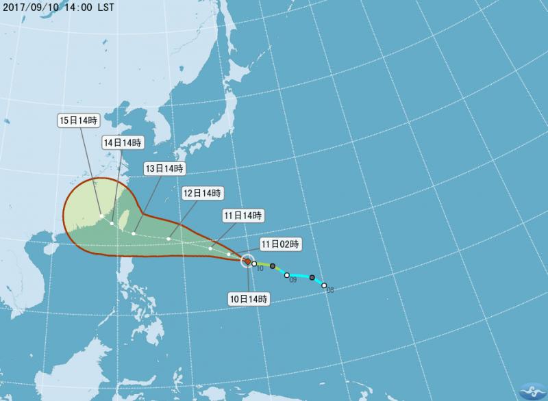 2017-09-10-中央氣象局預測泰利颱風路徑。(取自氣象局網站)
