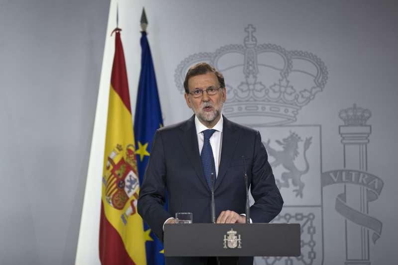 西班牙總理拉霍伊批評,加泰隆尼亞政府由恐怖份子掌控。(美聯社)