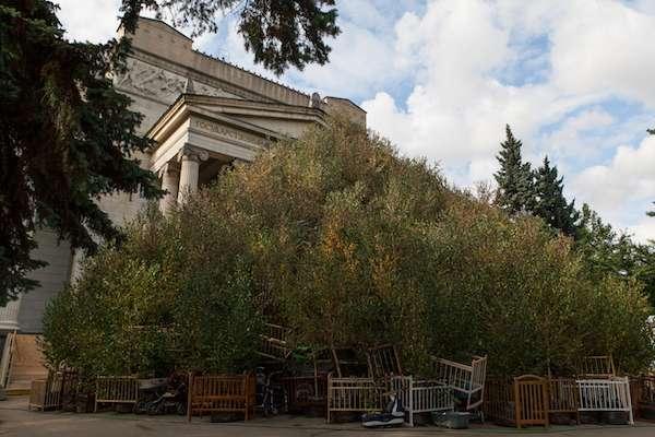 《秋天》, 2017。手推車、嬰兒床、白樺樹。約23米寬,15米高。於普希金國家藝術博物館,2017年。(圖/澎湃新聞提供)