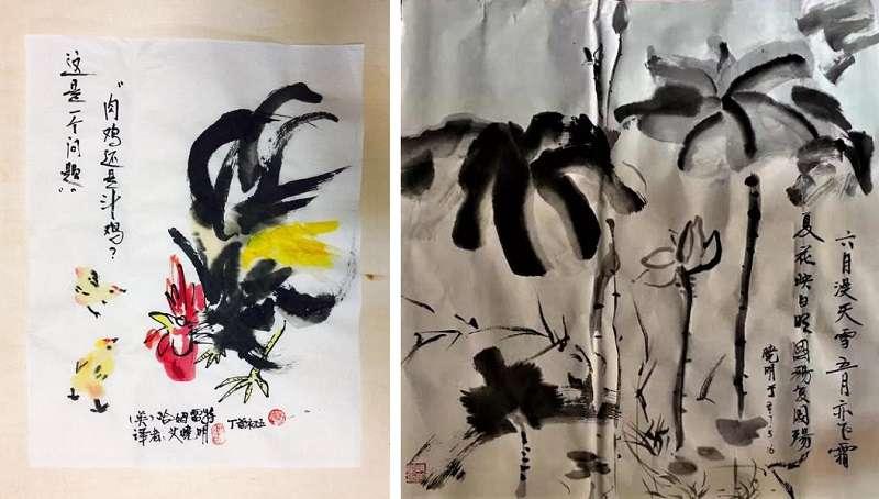 艾曉明的水墨作品雞年(左)與墨荷(右)。(作者提供)