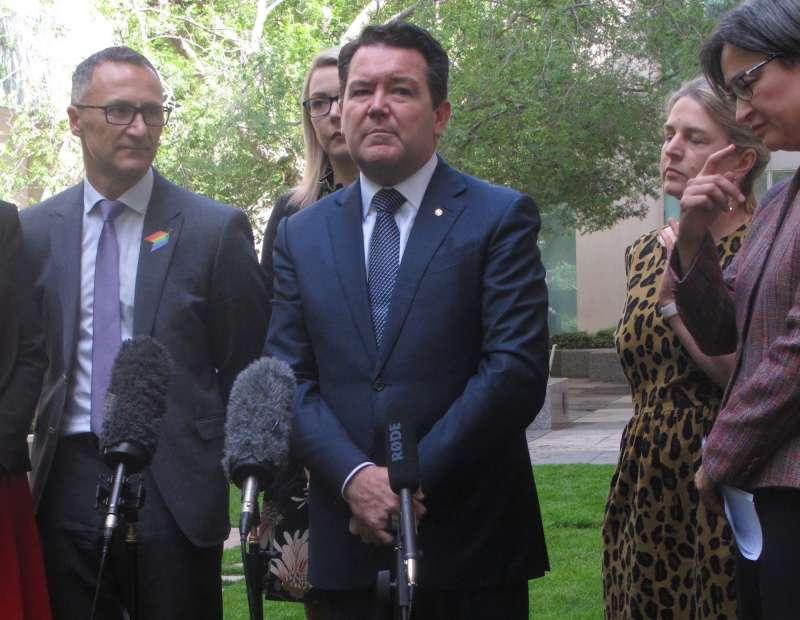 澳洲同性婚姻合法化公投,圖為大力支持同婚、也是澳洲第一位出櫃國會議員的自由黨議員史密斯。(美聯社)