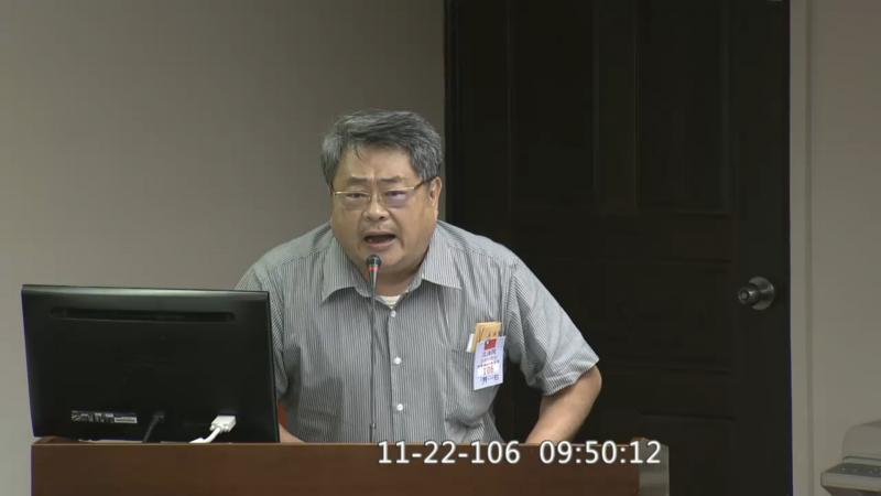 彰化縣小英後援榮譽總會長、彰化活力旺企業協會榮譽理事長的蕭明仁22日表示,勞工過勞死「可能是自己本身有病」。但他事後澄清是本意遭到扭曲。(取自立法院IVOD)