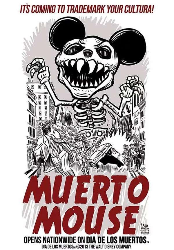 拉羅·阿爾卡拉斯創作的米老鼠骷髏海報(圖/澎湃新聞提供)