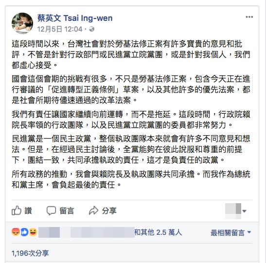 20171207-總統蔡英文貼文「努」比「讚」多。(取自蔡英文 Tsai Ing-wen臉書粉絲專頁)