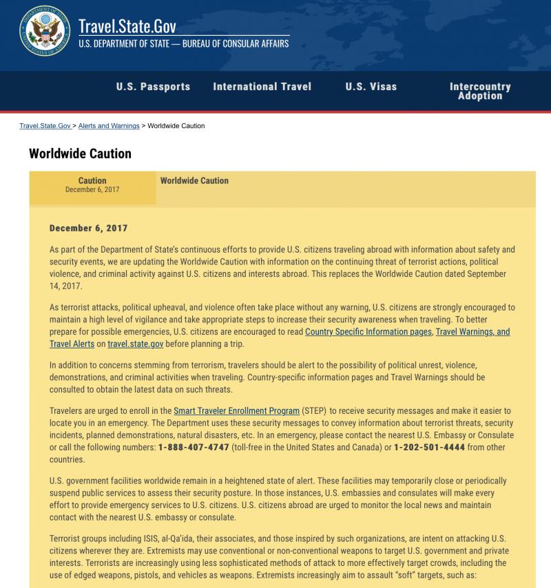 美國國務院6日發佈的「全球警戒」部分內容。