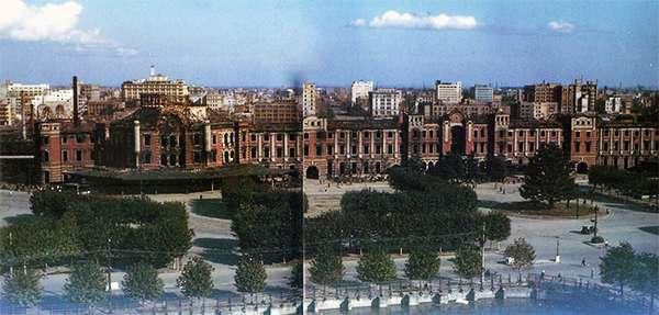 1945年的東京車站,可見站體已遭美軍炸燬。(作者翻攝自文藝春秋1983年8月號)