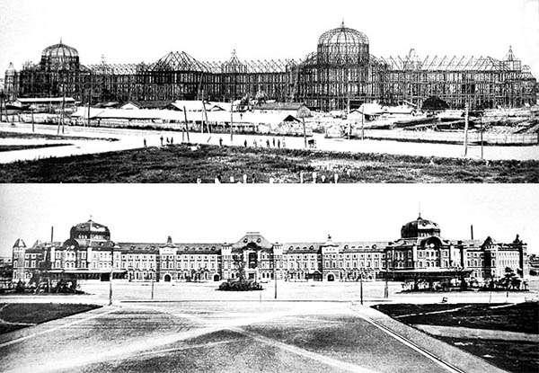 興建中的東京車站與完工後的東京站(作者翻攝自大宮鐵道博物館藏)