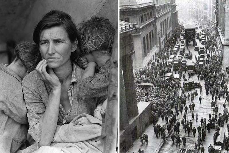 美國大蕭條時期的貧困採豆人(左);華爾街崩潰之日景象(右)。(維基百科)
