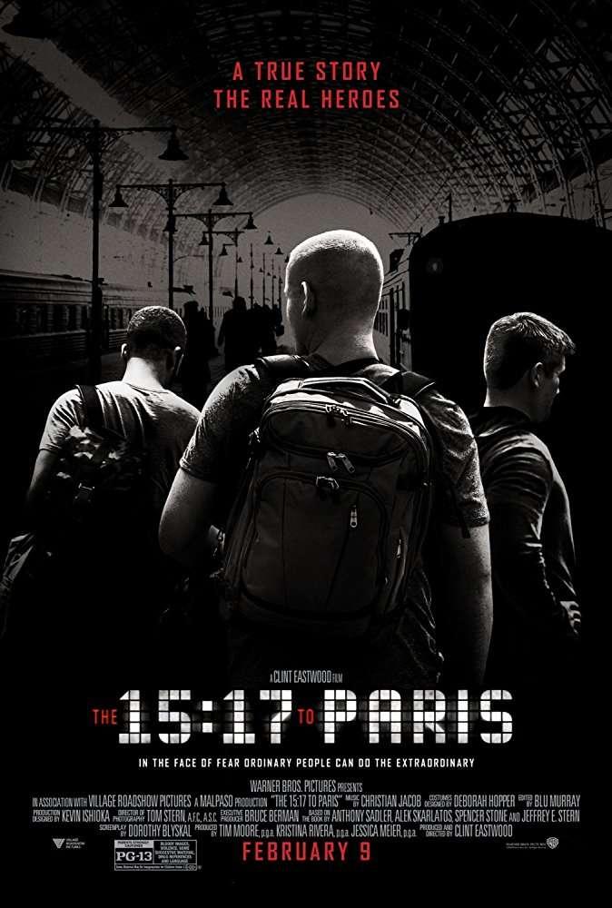 電影《15:17 巴黎列車》(暫譯)海報。(取自IMDb)
