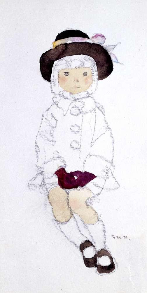 岩崎知弘,戴棕帽的女孩,1970年代早期 (圖/© 知弘美術館,城市美學新態度提供)