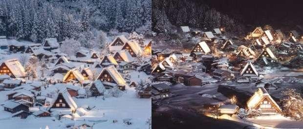 被白雪覆蓋的合掌造民宅村落,宛如童話國度裡的一角(圖/女子學提供)
