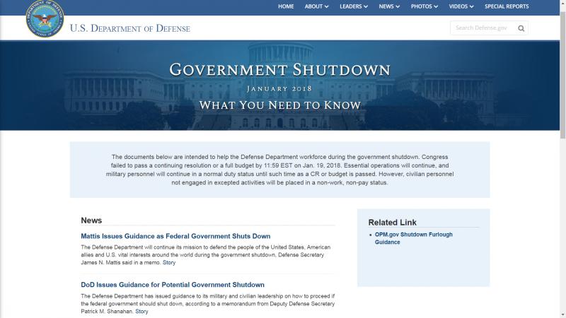 2017年1月20日美國聯邦政府關門,國防部貼出告示。(DoD)