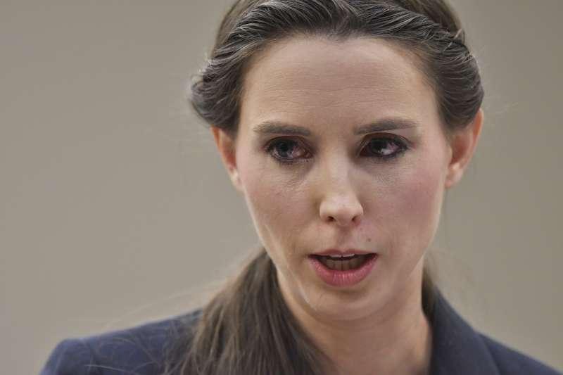 美國體操隊前醫生納薩爾性侵案,圖為最積極打官司的受害者丹何蘭德(Rachael Denhollander)。(美聯社)