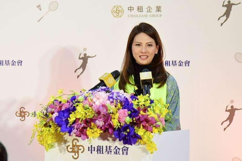 20180125中租基金會董事長辜周靖華於場館落成致詞。(中租企業提供)