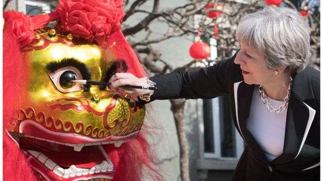 英國首相梅伊(Theresa May)近日率領龐大商務代表團拜訪中國(BBC中文網)