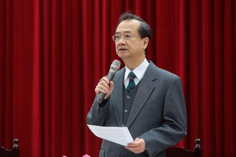 20180212-司法院長許宗力12日召開「司法改革首次半年進度報告」記者會。(顏麟宇攝)
