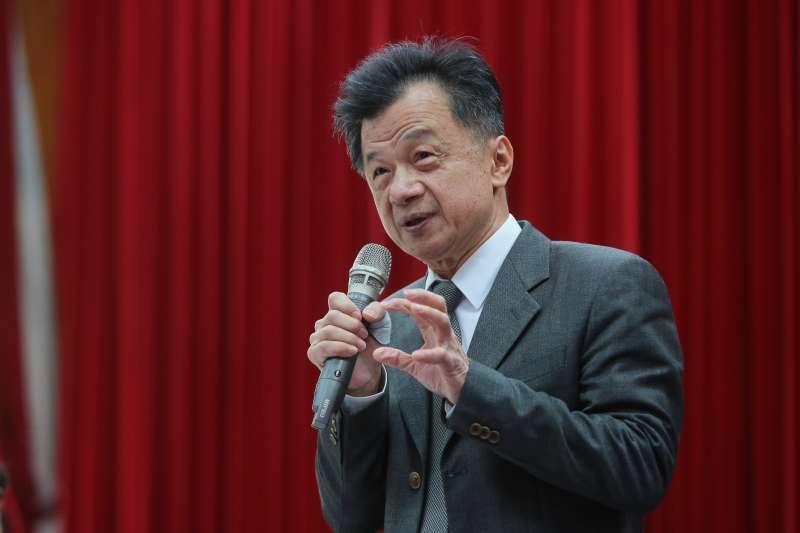 20180212-法務部長邱太三12日出席「司法改革首次半年進度報告」記者會。(顏麟宇攝)